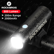 Rockbros farol para bicicleta à prova d' água, usb, recarregável, 400lm, luz dianteira, 2000mah, lanterna para bicicleta, mtb