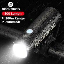 ROCKBROS lumière frontale de bicyclette Rechargeable par USB, lampe frontale étanche pour cyclisme, LED lm, 2000mAh