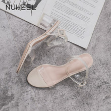 NUHEEL women's shoes fashion wild fairy style crystal sandals transparent heel shallow mouth buckle shoes women туфли женские
