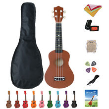 21 Inch Ukelele Mahogany Soprano Gecko Ukulele Guitar Musical Instrument 4 String Hawaiian Mini Guitarra with Bag, Picks, Tuner