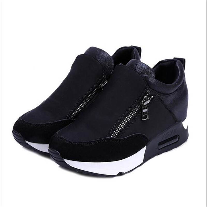 2020 New Women Casual Shoes Height Increasing Zipper Breathable Women Walking Flats Trainers Shoes Autumn Platform 35-42