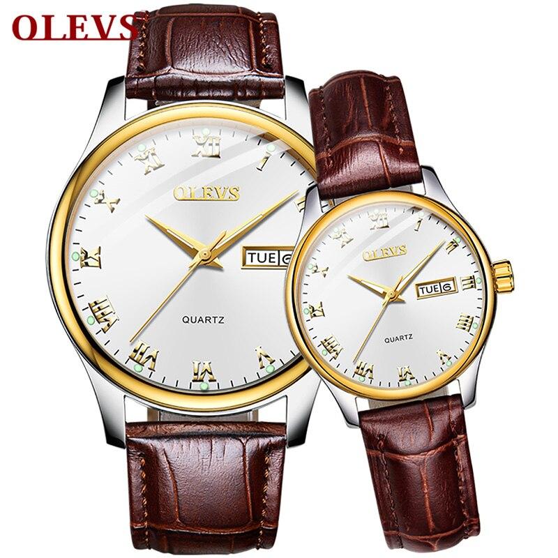 OLEVS Top Barnd Luxury Quartz Couple Watch Fashion Business Men Women Watch Leather Stainless Steel Clock Wristwatch Reloj Mujer