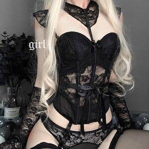 Image 2 - Combinaison de corps en dentelle pour filles, Lingerie japonaise Sexy, ceinture amincissante, sous vêtements transparents, Bustier et Corset ajouré
