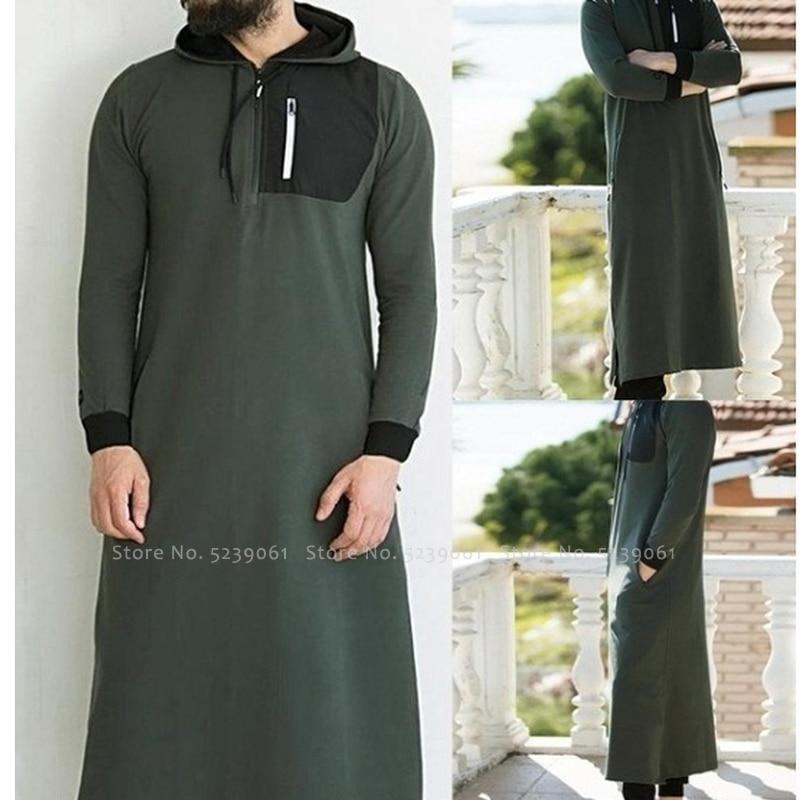 Abaya Men Arabic Long Sleeve Hoodies Muslim Dress Kaftan Saudi Arabia Islamic Clothing Men Pakistan Ethnic Thobe Jubba Robe Tops