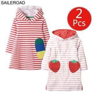 Image 2 - SAILEROAD 2pcs Girls Sweatshirts Hoodies Dress for Kids Long Sleeve Clothes Autumn Children Party Dress Cotton Kids Hooded Dress