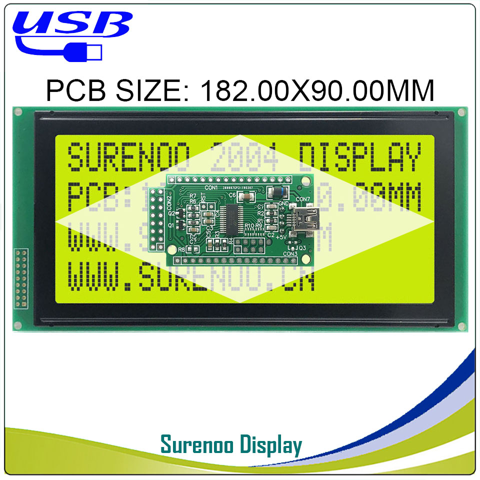 LCD2USB USB 204 20X4 2004 Largest Character LCD Module Display Screen Panel Sutible LCD Smartie & AIDA64 For DIY PC