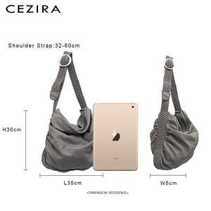 Image 5 - CEZIRA Big Soft Casual Women Bags Girl Wash PU Leather School Handbag Ladies Adjustable Woven Buckle Belt Messenger&Shoulder Bag