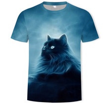 New summer fun and cute cat 3D printing men's T-shirt O-neck short-sleeved casual T-shirt parent-child wear