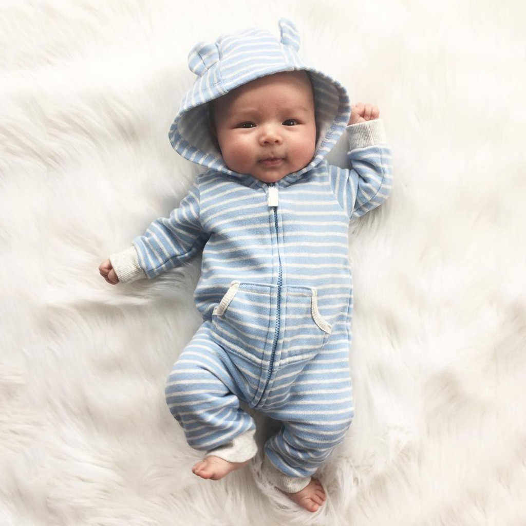 Baby Winter Romper Newborn Infant Baby Boys Girls Hooded Striped Long Sleeve Romper Jumpsuit with Pocket Outfits Roupas 6M-24M