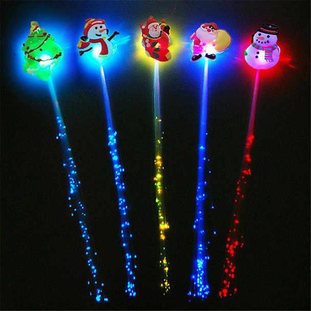 חג המולד Led אור פלאש צעצועים לילדים פולטות סיכת ראש חוט סיבים אופטי זוהר סיכת ראש משי צמות מסיבת קישוט 2020