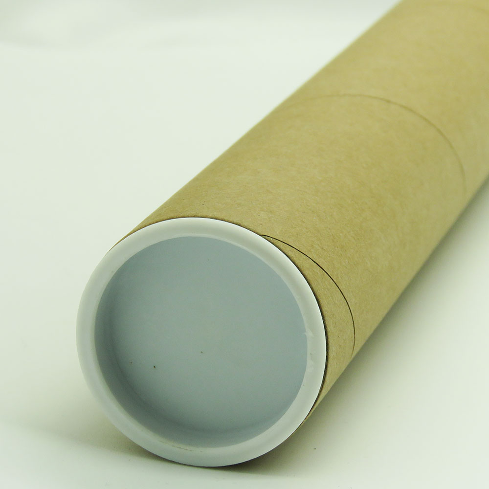 plain kraft poster mailing packaging paper tube with black plastic caps
