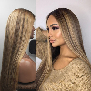 Ombre Blonde Highlight 13x6 Lace Front Human Hair Wigs with Baby Hair Brazilian Full Lace Wigs for Black Women Natural Hairline