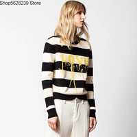 Zv French Knitting Shirt Love Letter Printing Stripes Loose Lazy Wind Sweater Women's Top