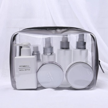 Nice Bulk Sell Clear pvc bag Transparent zipper travel cosmetic 23*16*7.5 cm