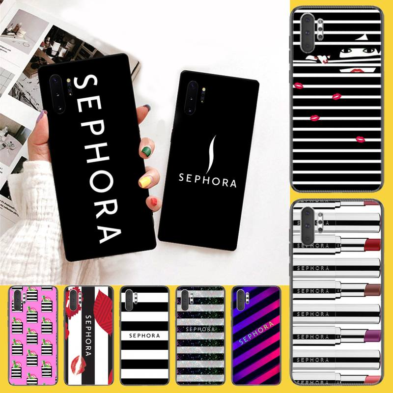 PENGHUWAN super cute Sephora Soft Silicone Black Phone Case For Samsung Galaxy J7 J8 J6 Plus 2018 Prime Note 7 8 9 10 pro