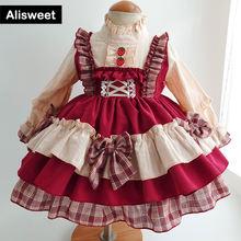 Осеннее платье в стиле «лолита» с бантом хлопковая одежда для