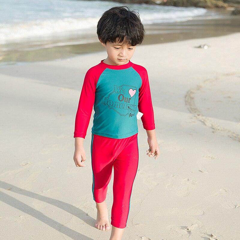 Children Split Type Swimwear Men And Women Children Long Sleeve Swimsuit Warm Tour Bathing Suit Cute Cartoon Hot Springs Swimwea