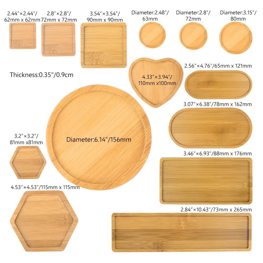 WITUSE декоративные изделия бамбуковые круглые квадратные миски тарелки настольные бонсай potsplots подносы основа Цветочные плантаторы бамбуковая подставка