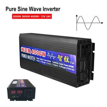 Pure Sine Wave Inverter DC 12V 24V To AC 220V Voltage Converter 2000W 3000W 4000W Power Pure Sine Wave Car Solar Energy Inverter mkp5000 242b c off grid pure sine power inverter dc 12v ac 220v 5000w 10000w 24 dc to 220 ac inverter dc to ac inverter