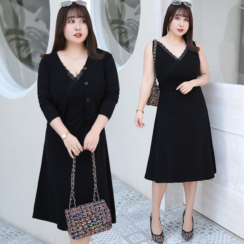 [Xuan Chen] Autumn Clothing New Style Plus-sized WOMEN'S Dress Fat Mm Suit Dress Elegant Two-Piece Set On Behalf Of M048