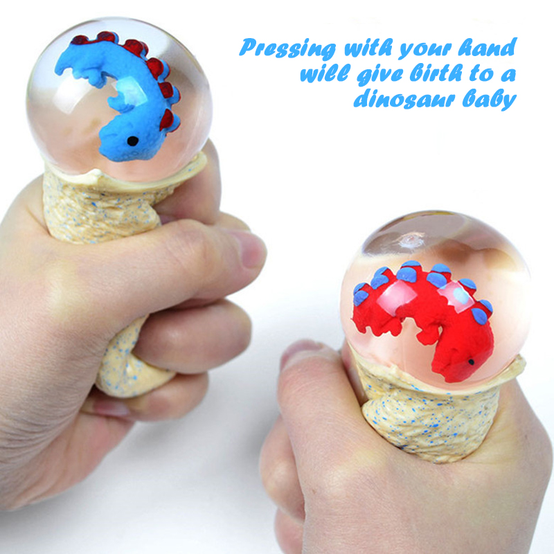 4pcs/box Dinosaur Egg Pinch Happy Children Small Toy Squeeze Vent Toy Cute Dinosaur Baby Toy Small Gift