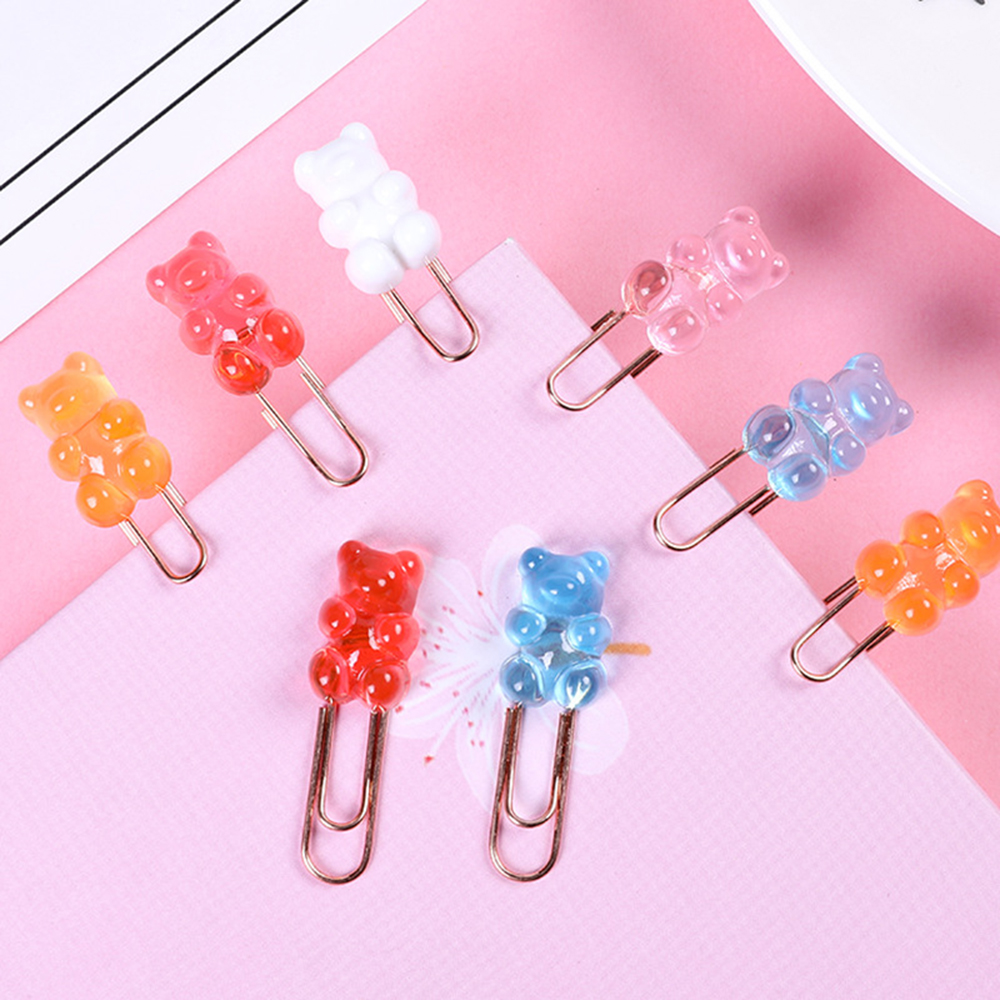 2 шт/лот kawaii красочный медведь зажим для бумаги декоративная
