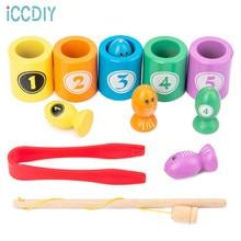 Educação do bebê brinquedos de madeira aprendizagem precoce número cor correspondência brinquedo magnético clipe de pesca inseto jogo presentes para crianças