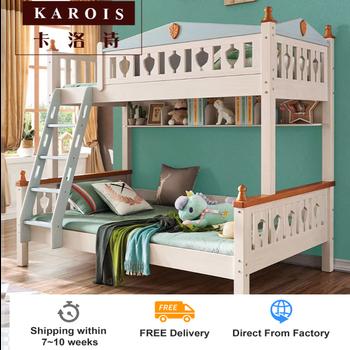 KAROIS KB521 meble do sypialni dla dzieci łóżko dziecięce łóżko piętrowe na meble do sypialni łóżko piętrowe design tanie i dobre opinie CN (pochodzenie) Łóżko Wood veneer skóry Minimalistyczny nowoczesny Bez szuflady Drewna Up inner size 100*200CM down inner size135*200CM