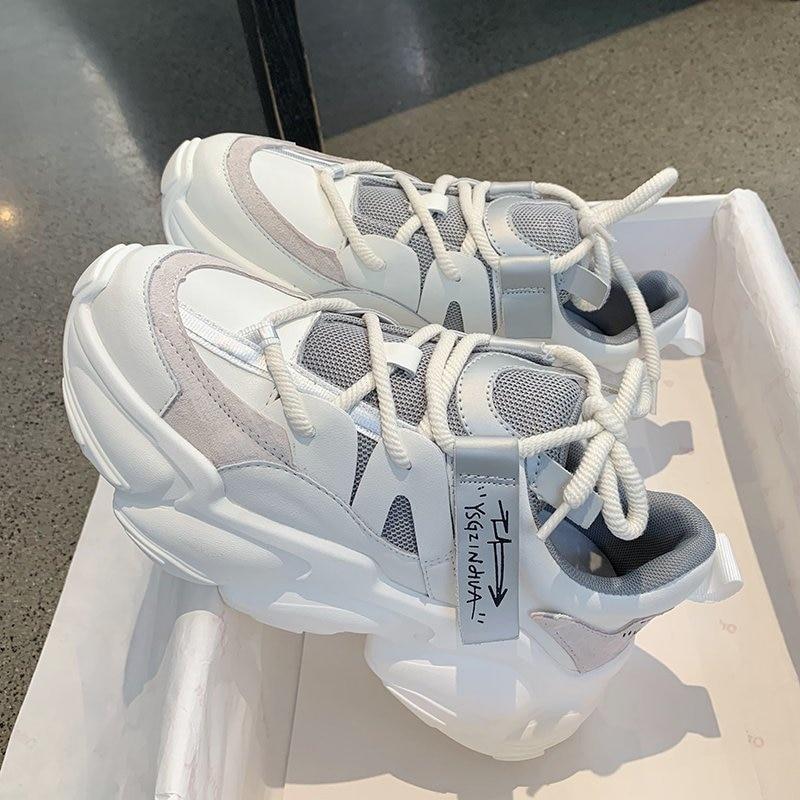 2020 Autumn Women Chunky Sneakers Platform Fashion Vulcanize Shoes Ulzzang Brand Woman Mesh Casual Shoes Running Trainers Female 5