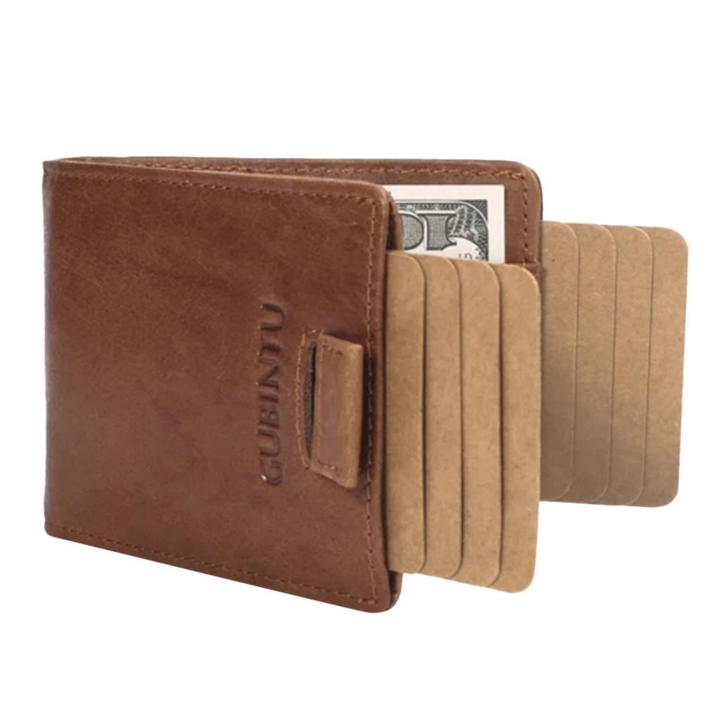 Men RFID Blocking Wallet Pull Out Slim Business Credit Card Holder Purse Pocket Magnetic Button Wallet RFID Protection