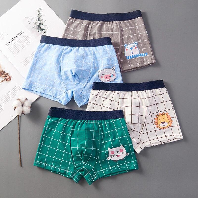 4pcs/Lot Boys Boxer Briefs Kids Cotton Underwear Baby Boy Underpants Teenager Cartoon Print Soft Children Panties 2-14T 2021 3