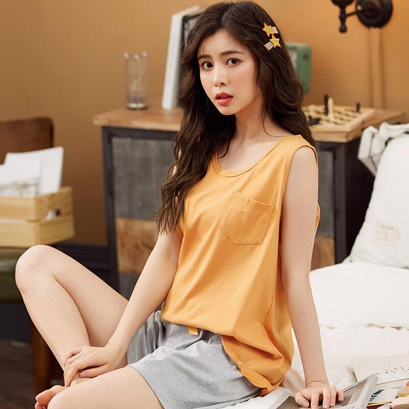 JULY'S SONG-Conjunto de pijama corto de algodón para mujer, Sexy ropa de dormir con tirantes finos, cuello redondo, 2020