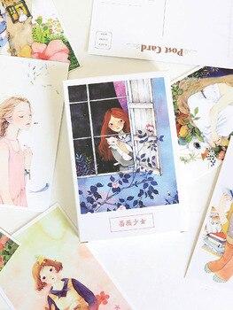 цена 30 Pcs/Set Flower And Girl Postcard Bookmark Greeting Card Letter Paper School Office Stationary Paper Supply For Kids Gifts онлайн в 2017 году