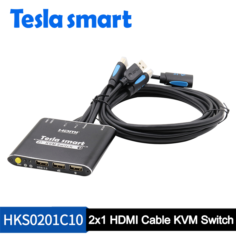 2 Port USB HDMI Cable KVM Switch 2 Ports HDMI Switcher KVM 2x1 With Extra USB2.0 Port Support 4K*2K KVM Switch With KVM Cables