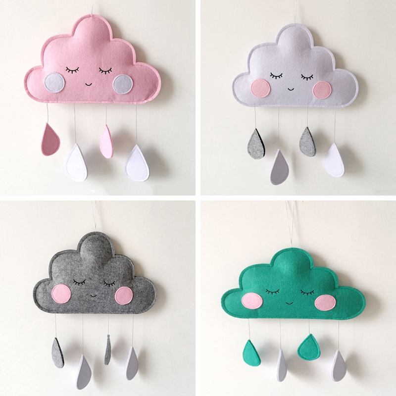 INS Baby Room Decor Hanging Toys Clouds Newborn Hanging Ornaments Crib Bed Bell Kids Decoration Room DIY Water Droplets