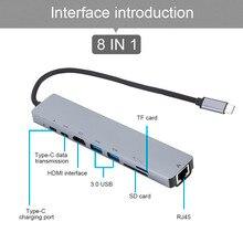 8 em 1 usb c hub tipo c para hdmi rj45 ethernet usb 3.0 portas sd/tf leitor de cartão USB C pd entrega de energia para macbook pro dock