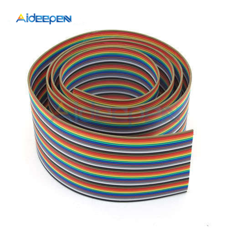 IDC Standard 1M 3.3ft 40 Pin Dupont Wire Flat Color Rainbow Ribbon Cable Wire 1 Meter 1.20mm Pitch Rainbow Cable