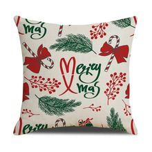 Holiday Decorative Pillowcase Christmas Cartoon Pattern Printed Zipper Closure Throw Pillow Cover For Home