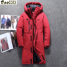 Boolili 2020 Men #8217 s Winter Jacket X-Long Down Coats Men White Duck Down jacket Male Slim Fit Warm Parka High Quality Long Coat cheap Casual zipper Full Pockets Zippers Adjustable Waist Thick (Winter) Broadcloth Acetate Polyester Hat Detachable Collar Detachable