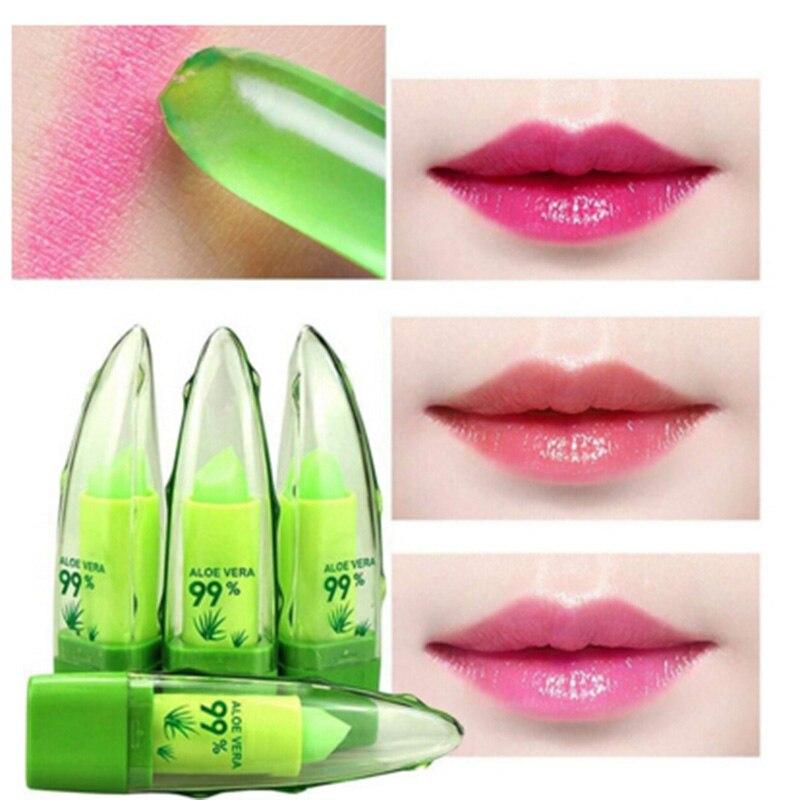 Pure Natural Aloe Vera Natural Moisturizer Lipstick Temperature Changed Color Lipbalm Magic Pink Protector Lips Cosmetics
