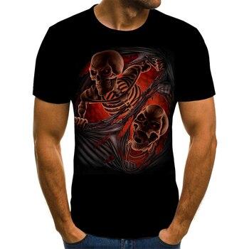 Camisetas con calavera de calabaza para hombre, camisetas modernas de verano de manga corta con estampado de calavera de Ghost Rider, geniales camisetas con estampado de calavera 3D para hombre