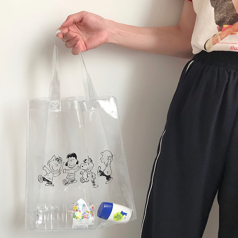 Cartoon Transparent PVC Large Capacity Shopping Tote Bag Portable Storage Reusable Shoulder Satchel Women Beach Grocery Pouch