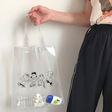 Cartoon Transparent PVC Large Capacity Shopping Tote Bag Portable Storage Reusable Shoulder Satchel Women Beach Grocery Pouch(China)