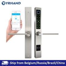 עמיד למים אירופאי סגנון Bluetooth טביעות אצבע גישה אלקטרוני חכם דלת מנעול אלומיניום זכוכית דלת
