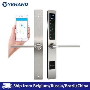Image 1 - Impermeabile Stile Europeo Bluetooth di impronte digitali di accesso elettronico Intelligente serratura della porta Per Porta di Vetro di Alluminio