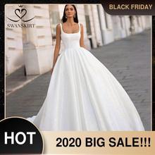Swanskirt光沢のあるサテンのウェディングドレス2020古典的な正方形の襟ノースリーブaラインプリンセスvestidoデ · ノビアI302花嫁衣装