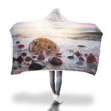 Морской кактус нордическая шляпа одеяло с капюшоном для взрослых коралловый флис теплое надеваемое покрывало с принтом шерстяное одеяло зимние одеяла 200x150 см