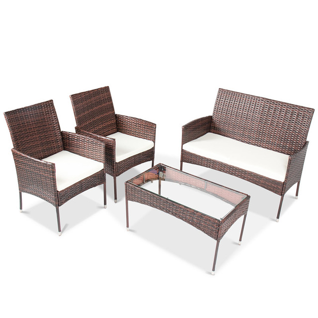 4 Pcs Rattan Patio Furniture Set 4
