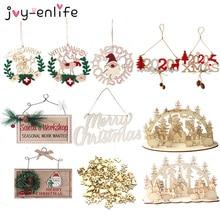 цена Wooden Christmas Tree Ornaments Hanging Decorations Pendants Navidad krest for Home Wood Desktop Ornaments Xmas New Year Gift в интернет-магазинах