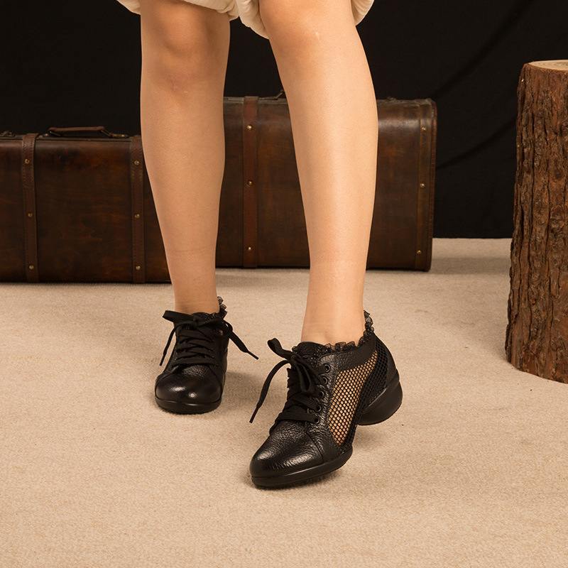 Genuine Leather Semi-high Heeled Women's Sports Shoes For Square Dance Punched Sheet Surface Wear-Resistant Adult Dance Shoes Ge